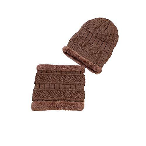 Jiayi Autunno E muts met sjaal, twee stuks wollen muts van wol, meerdere hoeden van fluweel, voor heren, van leer, met bescherming voor het oor van de serie, bruin
