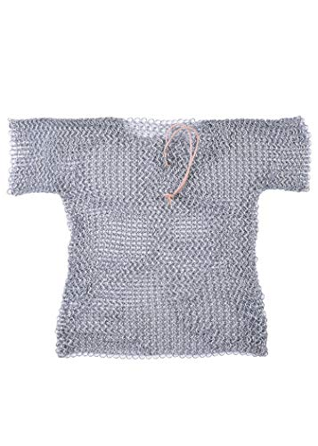 Battle-Merchant Rostfreies Kettenhemd für Kinder aus verzinktem Stahl (Silber/164)