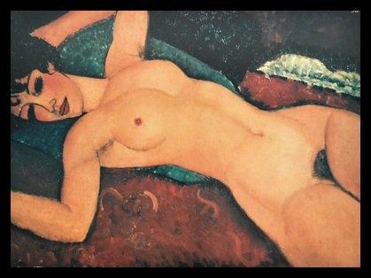 Germanposters Amedeo Modigliani Nudo Poster Kunstdruck Bild im Alu Rahmen in schwarz 56x76cm