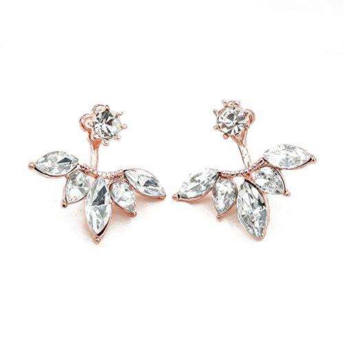 QHGstore Womens Kristallgänseblümchen-Blumen-Ohrringe nach hängenden Ohr-Bolzen-Schmucksache-Geschenken Rosengold
