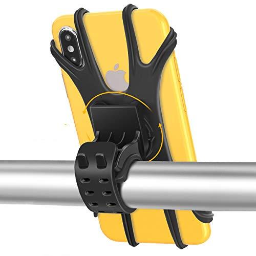 Fahrrad Handyhalterung Handyhalter Motorrad, Face ID/Touch ID Kompatibel, Universal 360° Drehbar Abnehmbare Anti-Shake Silikon Handyhalterung Fahrrad Motorrad Handy Halterung für 4.5- 7.5 Zoll Handys