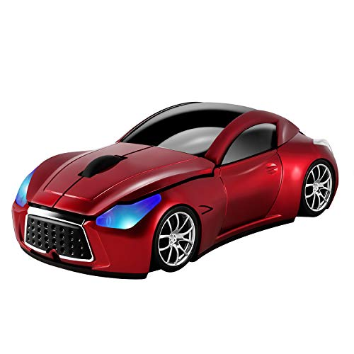Usbkingdom 2.4GHz Cool Sport Car Shape Wireless Mouse Optical Cordless Mice with USB Receiver for PC Laptop Computer 1600DPI 3 Buttons Red