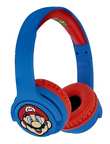 OTL Technologies JUNIOR Bluetooth Kinder Kopfhörer Super Mario (gepolsterte Bügel, Lautstärke Begrenzung auf 85 dB, buntes Comic Design, für Jungen und Mädchen), Blau/Rot