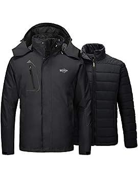Wantdo Men s Ski Jacket 3 in 1 Waterproof Snow Coat Black Large
