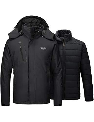 Wantdo Men's Hooded Waterproof 3 in 1 Ski Jacket Puff Liner Coat Black XX-Large