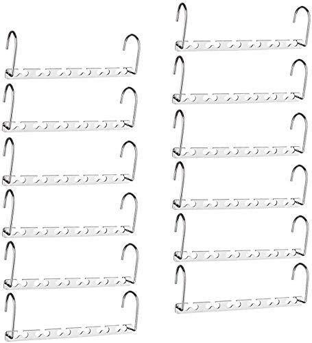 Canby 12Pcs Wardrobe Clothes Wonder Hanger Hooks Organiser Magic Closet Coat Clothing Organiser Hanging Hangers Metal