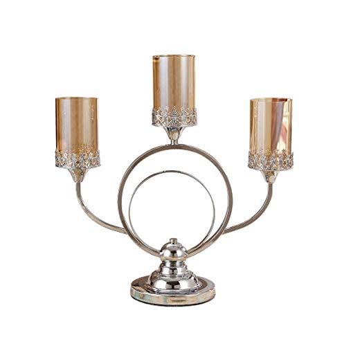 BIAOYU Candelabro americano titulares 3 brazos Metal Candlelight Cena Candlelight titular de la vela soporte té luz vidrio titular mesa centro decoración