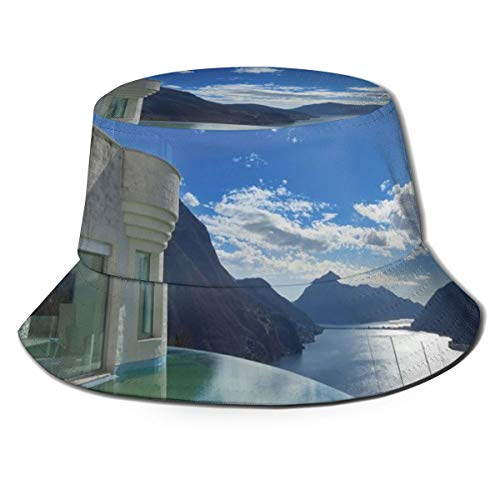 Unisex Summer Fisherman Cap,Modern Summer Penthouse with Infinite Pool Ocean Sea Scenery Image,Travel Beach Outdoor Sun Hat