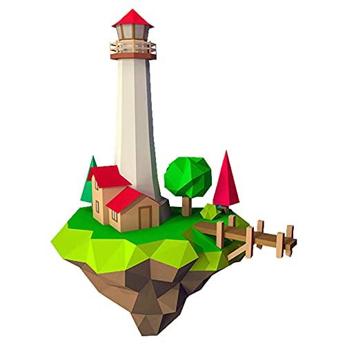 Forma De La Isla Del Faro Rompecabezas De Origami Artesanía De Papel 3D Escultura De Papel De Bricolaje Juguete De Papel Juego Creativo Hecho A Mano Decoración De Pared Geométrica Modelo De Papel