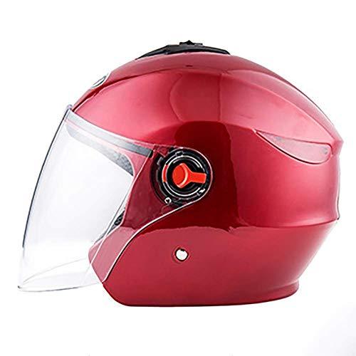 XTGFDC Veiligheid Open Gezicht Motorhelm Halve Helm, met Achterlichten Flip Up Sunshield, Volwassenen Mannen & Vrouwen Halve Helm Grijs, Geel, Rood (57-62Cm)