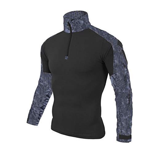 ZZYLHS Ejército táctico Uniforme Militar Camuflaje Airsoft Camisas Probado en Combate rápido Asalto Camisa de Manga Larga Batalla Tactical Strike Camisas (Color : Python Black, Size : XL.)