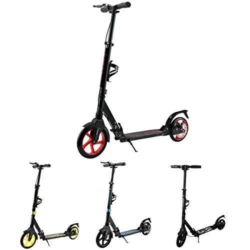 Tretroller Erwachsene. City Roller für Jungs und Mädchen. Roller mit Federung und Bremse. Cityroller kinder ab 7 jahre aus Aluminium. Flaschenhalter, 2 x Stoßdämpfer und Scheibenbremse. (Schwarz Rot)