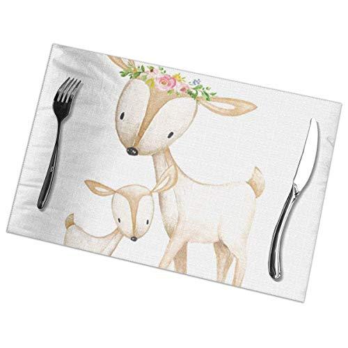 Juego de 6 manteles individuales para mesa de comedor, manteles individuales lavables antideslizantes Boho Woodl Deer Nursery Floral Baby