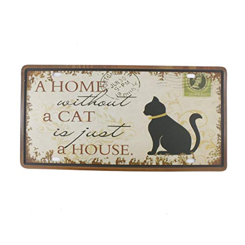 Bazingaaaaa - Targa in metallo con scritta in lingua inglese 'A Home Without a Cat is Just A House', 15 x 30 cm, stile vintage rustico per casa, bagno e bar