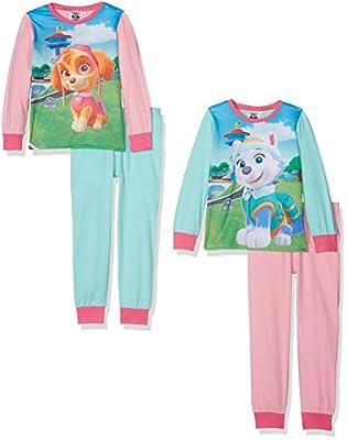 Paw Patrol Girls 2Pack PJ Conjuntos de Pijama, Multicolor (Aqua/M.Pink/B.Pink), 3-4 Años (Pack de 2 para Niñas de Aykroyds