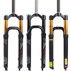 【Material】Upper tube Aluminum alloy,Lower tube Magnesium alloy,High polished inner tube,Fluorescent Reflective logo,Available colors Black/Black Gold. 【Fork Types】Air Rebound Adjust MTB Suspension Fork Optional size: Black( 26/ 27.5/29)Black gold (26...