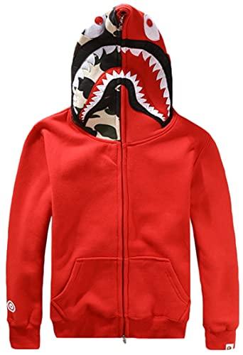 Bape Shark Sudadera con Capucha Hombre Camuflaje con Cabeza de Tiburón Impresión Hip Hop Tops(XXL,Rojo)