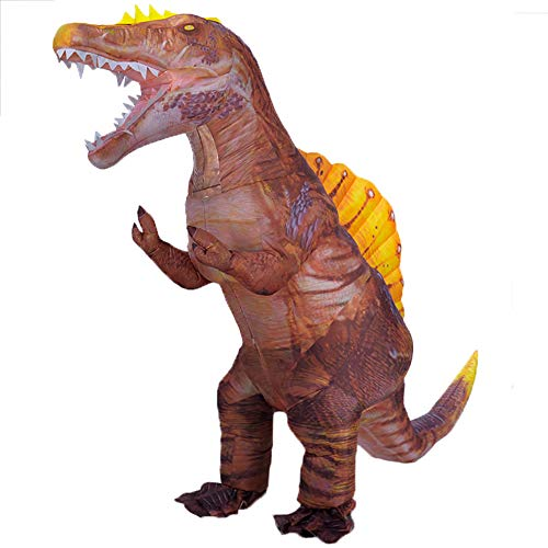 Newest Dinosaur Costume for Adults Inflatable Spinosaurus Costume Blow up Halloween Costumes Carnival Party Cosplay Fancy Dress (Brown)