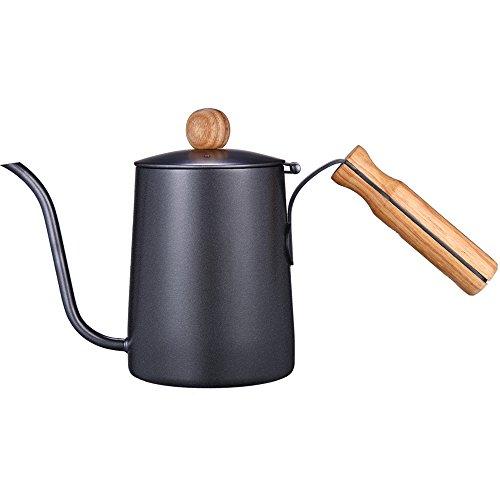 Kslongコーヒーポットグースネックポット細口ステンレス製木製ハンドルドリップケトルハンドパンチポットノンスリップIH対応(ブラック600ml)