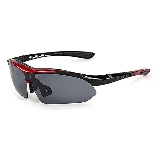 VILISUN Gafas de Sol Deportivas Polarizadas,100% TR90 UV400 Unisex con 5 5 Lentes de Cambios Incluido para Deporte y Aire Libre Ciclismo Conducción Pesca Esquiar Golf Correr (Rojo)