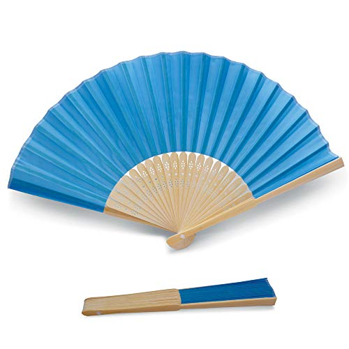 50 x Abanicos Azul de Calidad en Tela y Bambú - Bodas, Bautizos, Fiestas y Eventos al Aire Libre (Azul, 50 Abanicos)