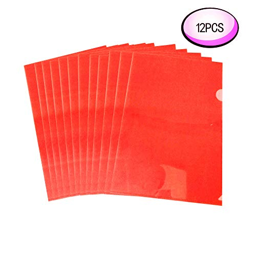 Wiekyze L-Type Plastic Folder Safe Project Pockets Transparent Clear Document Folder 12pcs for A4 paperPlastic Paper Jacket Sleeves in Assorted Project Folders?red?