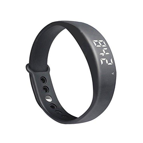 Pixnor® W5Elegante Armband Armband (Schrittzähler, Thermometer, Alarm Monitor des Schlaf, der Vibration)–Schwarz