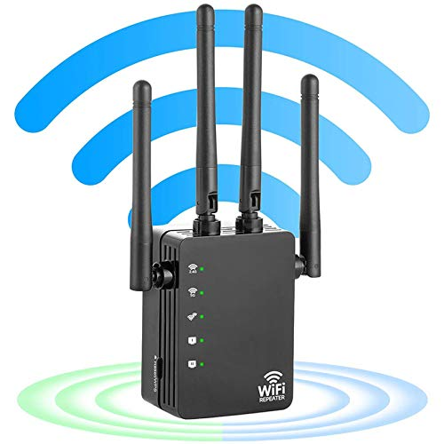 Stronger WiFi Signal Booster 1200Mbps, Easy Setup US-AC1200 Wireless WiFi Range Extender 2.4 & 5G Dual Band WiFi Repeater 4 Antennas Full Coverage Support One Button Setup with Ethernet Port
