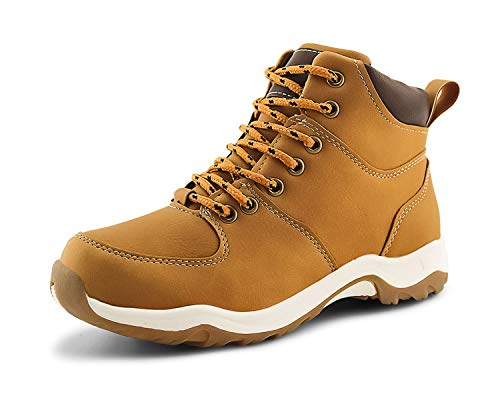 JABASIC Kids Ankle Snow Work Boots Boys Girls Outdoor Lace-up Hiking Shoes (4,Tan)