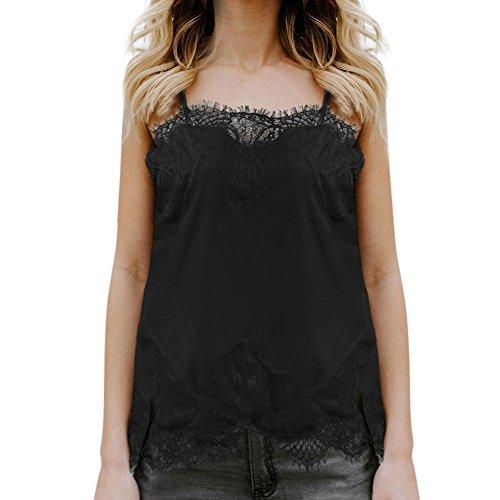 Toamen Tops Femmes T-shirts sans manches Couture de Dentelle Camisole Chemisier Sexy Été (M, Noir)