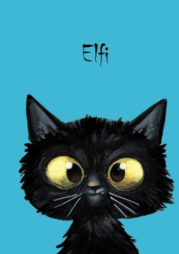 Elfi: Personalisiertes Notizbuch, DIN A5, 80 blanko Seiten mit kleiner Katze auf jeder rechten unteren Seite. Durch Vornamen auf dem Cover, eine ... Coverfinish. Über 2500 Namen bereits verf