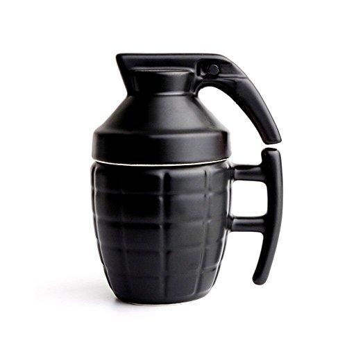 Becher in Form einer Handgranate, mit Deckel, Kaffeetasse, Tasse schwarz