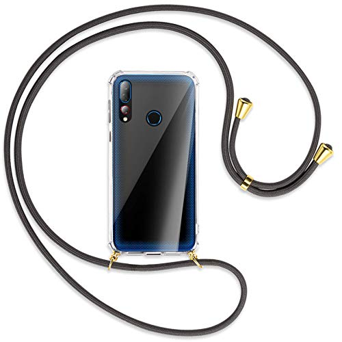 mtb more energy® Handykette kompatibel mit HTC Desire 19+, 19 Plus (6.2'') - dunkelgrau/Gold - Smartphone Hülle zum Umhängen - Anti Shock Full TPU Hülle