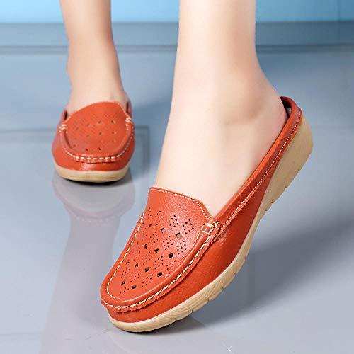 N/A Zapatillas de Viaje, Sandalias y Zapatillas de Mujer Baotou, Zapatos Huecos Casuales y de Moda con tacón Inclinado para Mujer-Orange_38