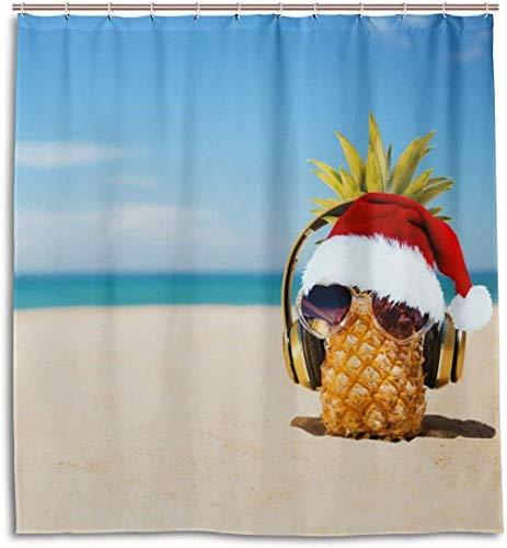Gafas de Sol de Moda de piña y Sombrero de Navidad Juegos de Cortinas de Ducha de baño Ganchos Cortina de poliéster Impermeable Festival Regalo