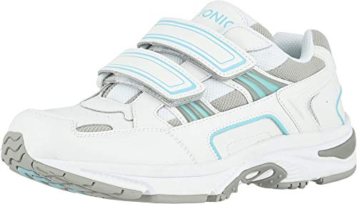 Vionic Women's Walk Tabi Lesiure Shoes - Adjustable Supportive Walking Shoes Include Three-Zone Comfort Orthotic Insole Arch Support, Sneakers for Women, Active Sneakers White and Blue 8 Medium US