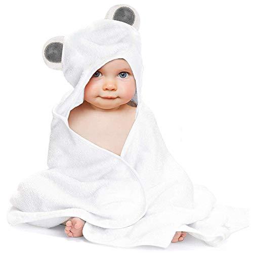 Kapuzenbadetuch Baby Bademantel Badetuch mit Kapuze Kapuzenhandtuch Waschlappen aus Bio-Bambusfaser Süß Weich Hautfreundlich Saugfähig 90 * 90 cm (Grau)
