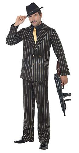 """Smiffys-22414XL Gangster Disfraz de gánster de Raya diplomática Dorada, con Chaqueta, Pantalones, Pechera de Camisa y Corbata, Color Negro, XL-Tamaño 46""""-48"""" (Smiffy"""