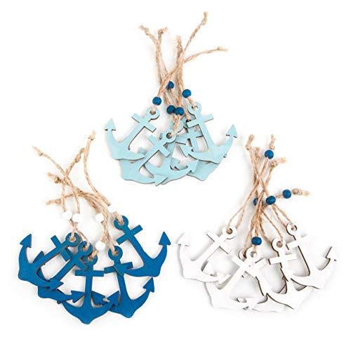 Logbuch-Verlag 15 Mini ancla de madera colgante ancla colgante azul blanco turquesa símbolo marítimo equipo boda fiesta seminario puerto hindú pequeño ancla colgante