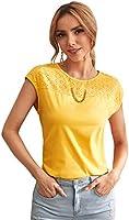 DIDK Damen Elegant Bluse Oberteil Sommer T-Shirt Stickereien Kurzarmshirt Rundhals Tops