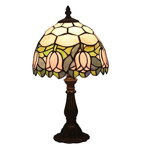 QCKDQ Tiffany-stijl tafellamp, roze tulpen glazen lamp met drukknopschakelaar, retro woonkamer, decoratief nachtlampje