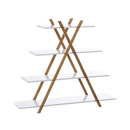 Estantería Blanca de bambú con 4 baldas nórdica para Cuarto de baño Basic - LOLAhome
