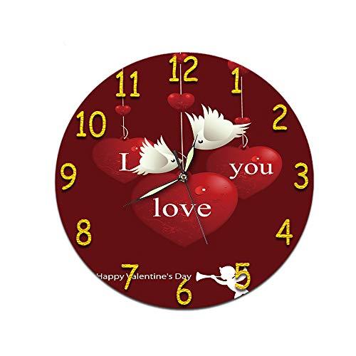 LUOYLYM Tema del Día De San Valentín Sala De Estar De Estilo Europeo Reloj De Pared Digital Acrílico Mudo Reloj Estéreo Creativo Etiqueta De La Pared Cara del Reloj Love Theme 33 (Luminous Hands)