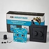 Doble regulador de intensidad LED con placa frontal negra, 2 x 200 W, Ion Industries, premio a la innovación, interruptor regulable, LED regulable, interruptor de luz profesional, doble regulador