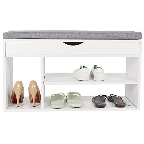 Banco zapatero con cojín cómodo, estante de zapatos, 2 niveles, mueble de almacenamiento para zapatos, banco zapatero, zapatero con asiento, mueble de entrada, color blanco y gris