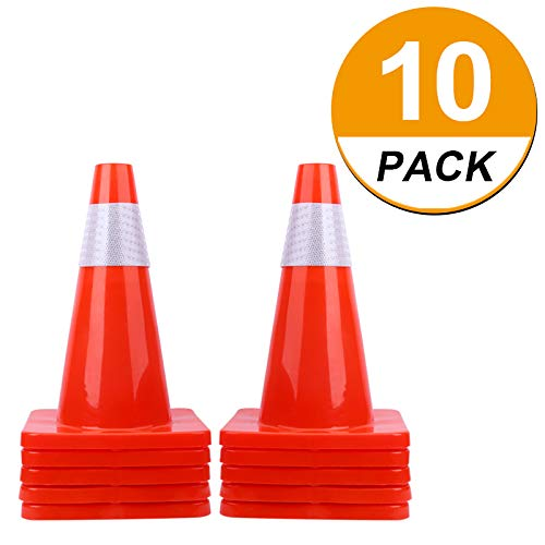 [ 10 Pack ] 18' Traffic Cones PVC Safety Road Parking Cones Weighted Hazard Cones Construction Cones for Traffic Fluorescent Orange w/4' Reflective Strips Collar Traffic Safety Cones