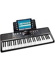 RockJam RJ361 - Teclado Electrónico Portátil de 61 Teclas con Pegatinas de Notas Clave, Fuente de Alimentación y Contenido de la Aplicación Simply Piano