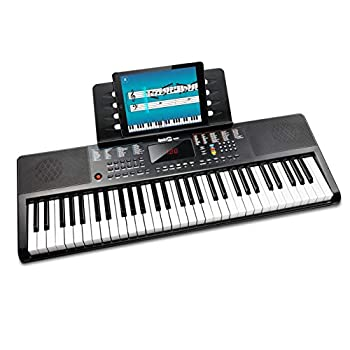 RockJam 61 Portable Electronic Keyboard with Key Note Stickers Power Supply and Simply Piano App Content Compact RJ361