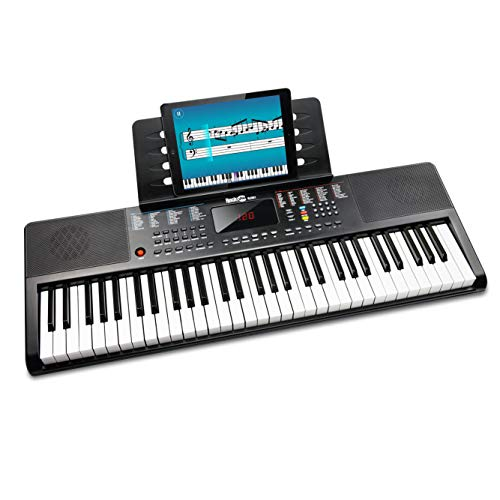 Rockjam 61 Piano Clavier Clé avec la Note Lutrin de Partitions pour Piano Autocollant Alimentation et Simplement L'Application de Piano - 80 x 7,8 x 28 cm