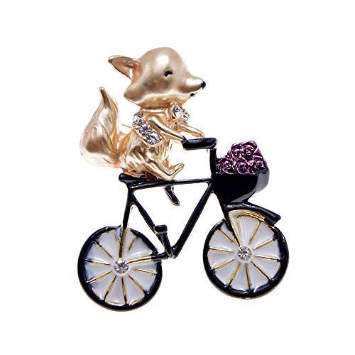 PicZhiwenture Broche 3 Colores eligen la Ardilla del Esmalte para el Broche de la Bicicleta del Paseo de Womem Broche Lindo del diseño Animal Nuevo 2020-amarillo
